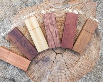 Set of 5 Exotic Wooden USB flash drive memory stick 8GB/16GB/32GB/64GB usb stick (11 different woods)
