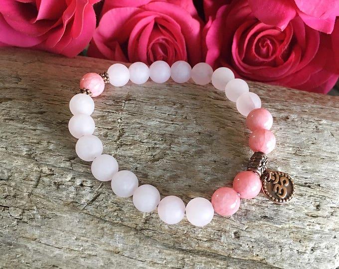 Featured listing image: Open Heart Mala Bracelet | Rose Quartz | Rose Pink Jade | Self Love | Self Esteem | Romance | Antidepressant