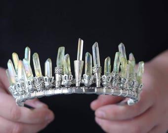 green aura quartz crystal crown, pagan, witch crystal tiara, moon goddess headpiece, cosplay headpiece, woodlands wedding, high priestess