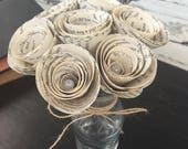 Book Wedding Decor - Book Paper Flowers - Wedding Table Centerpiece - Paper Roses