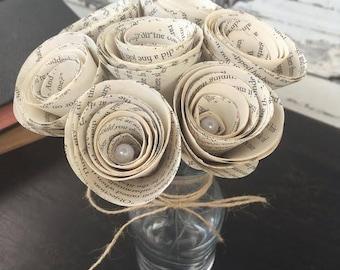7 Book Page Flowers - Keepsake Bouquet - Paper Flowers For Wedding - Farmhouse Centerpieces - Farmhouse Tables - Wedding Table Centerpieces