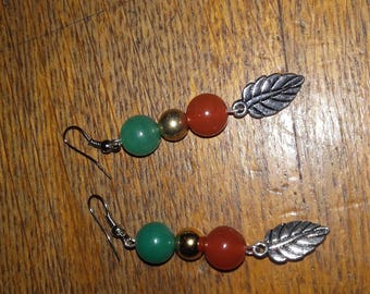 pierced earrings handmade jade beads