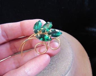 Vintage Goldtone & Green Rhinestone Floral Pin