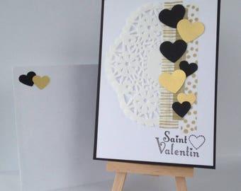 Map of Saint Valentine's day hearts black gold doily