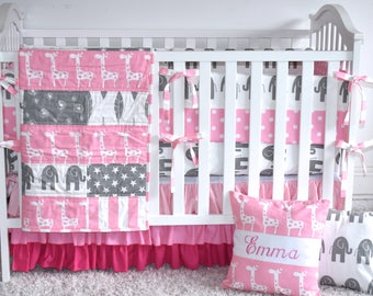 Pink and  Grey Giraffes and Elephants  Crib Bedding, safari,Baby Girl,jungle, safari, modern nursery, pastel colors, grey, pink, chevro