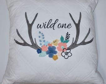 READY TO SHIP- woodland throw pillows, deer, so deerly loved, wild one, woodland nursery, baby girl nursery, floral deer, floral antlers