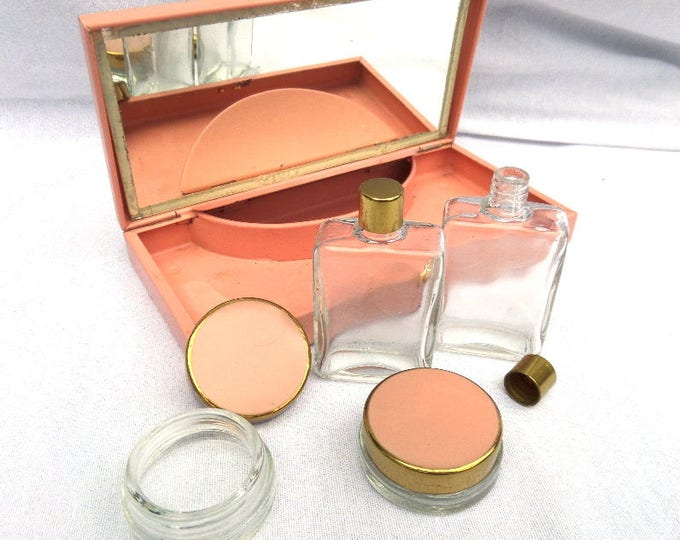 Ladies Travel Vanity Kit, Sirram England, LOW SHIPPING, Mirror, Powder / Cream Pots, Perfume / Bath Gel Bottles, Pink Metal Case