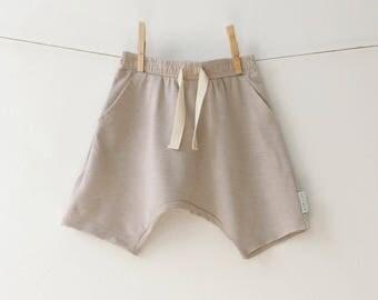 SALE, Boys Harem Shorts, Toddler Kids Harem Shorts, Beige Harem Shorts, Girls Off White Shorts, Hipster Kids, New Collection - by PetitWild