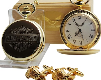 Harley Davidson Gold Pocket Watch and Chain and Motorcycle Cufflinks  gold Coated Motorbike  Modern  in Luxurious Gift Case Box Chopper Bike