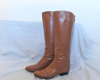 Vintage 70s  tan knee high boots italian light brown riding style leather boots size 7.5