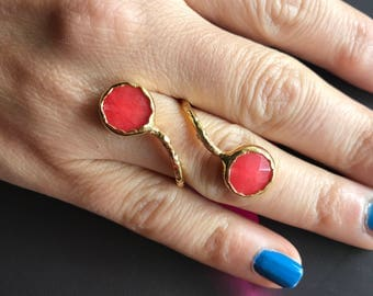 Gemstone ring, Agate ring, Double stone ring, Adjustable ring, Red ring
