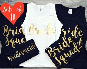 100% Custom Bridesmaid Shirts (11) | 11 Bridesmaid Shirts | Bridesmaid Shirts Set of 11 | Bridesmaids Shirts Set of 11 | 11 Tank Top Shirts