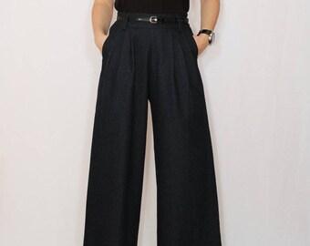Black Pants Denim pants High waist Wide leg pants with pockets Custom trousers