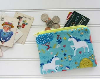 Blue Unicorns Novelty Coin Purse, Zipper Bag, Medicine Bag, Pacifier Bag, Small Make Up Bag, Zipper Bag Storage, Fabric Wallet