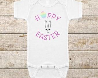 Hoppy Easter/Bunny Face/Infant Onesie/Happy Easter/Easter Egg/Easter Egg Hunt/Easter Gift/Bunny Gift/Easter Clothes/Bunny Ears/Easter Outfit