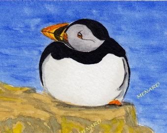 Bird-Atlantic puffin-Animal Watercolor Painting