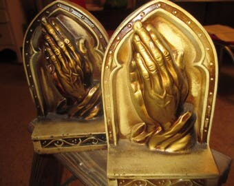 Praying Hands Bookends, Religious, Library, Made in Japan