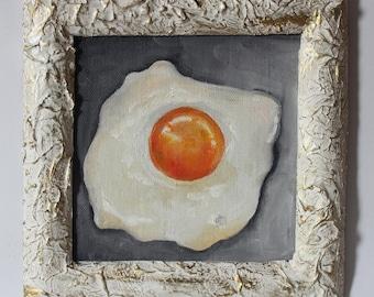 Original oil painting, art,  food, omelette, eggs, breakfast, handmade, framed, gift, gold.  Картина маслом, еда, завтрак, яичница