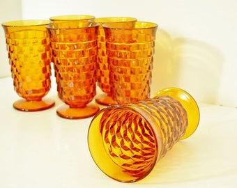 Amber Polygon Glasses from Indiana Glass - Whitehall Tumblers