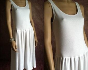 SALE | Vintage Dress | 1990s White Cotton Tank Dress