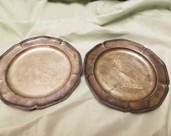 """2 antique queen anne style 6"""" silver plated plates A day after Tomorrow"""