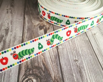 Catapillar ribbon - Apple ribbon - Bug ribbon - Cute ribbon - Story book ribbon - School ribbon - Apple and pear - Grosgrain ribbon