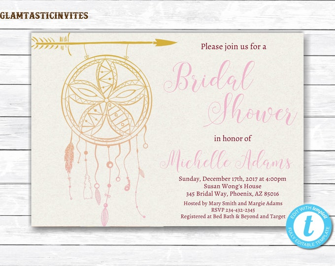 Dream Catcher Bridal Shower Invitation Template, Bridal Shower Invitation Template, Boho Bridal Shower Template, Rustic Bridal Shower, DIY