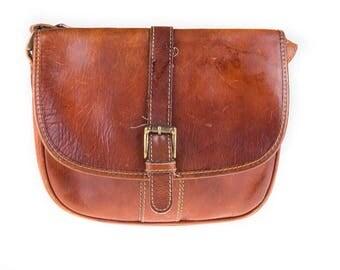 Belsac Vintage 90's Dark Brown Leather Shoulder Bag