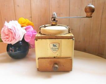 french Vintage enameled coffee grinder Peugeot - Vintage old glazed cream Peugeot coffee grinder