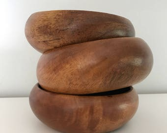 Vintage Wood Bowls, set of three | wood bowls, wood bowl set, wooden bowls, key dish, wooden salad bowl, serving dishes, wooden bowls