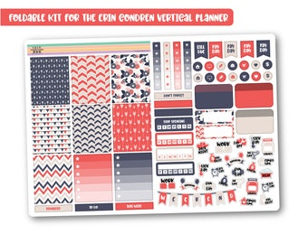 READY TO SHIP Coral & Navy weekly planner kit, Cheap stickers kit, Mini planner kit perfect for the vertical Erin Condren, Cute weekly kit