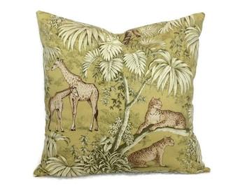 Tropical Pillow Jungle Throw Pillow Cushion Cover P. Kaufmann Pillow Decorative Coastal Pillows Chartreuse Sage Green Palm Beach Pillow