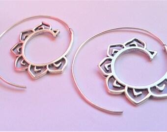 Spiral Earrings, Silver Earrings, Tribal Earrings, Boho Earrings, Gypsy Earrings