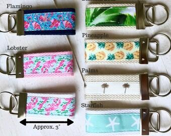 Custom Key Fob- Key Chain, Lilly Pulitzer, Pineapple, Tropical, Bridal Party, Lobstah, Flamingo
