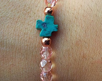 Womens Glass Faceted and Turquoise Stretch Bracelet
