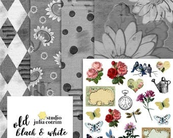 Old Black & White Digital Paper Pack | Scrapbook Paper | Printable Background | 05 JPG, 300dpi files.
