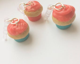 Pink Frosted Cupcake Phone Charm
