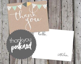 Printable Thank You Postcard, Thankyou, Printable Thanks, Baby Shower Thank You, Banner Thank You Postcard, Thanks Postcard