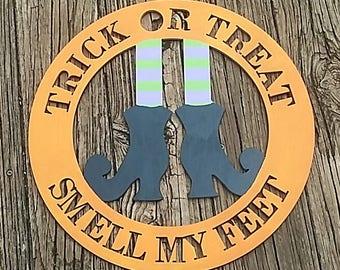 Trick or Treat Halloween Witch Feet Door Hanger