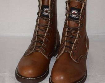 Carolina Brown Leather Boots 8021 New Old Stock US8.5 UK7.5 Cork sole Made in USA.