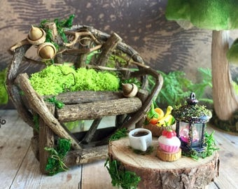 Miniature fairy bench and coffee table, fairy furniture set, woodland sofa and table
