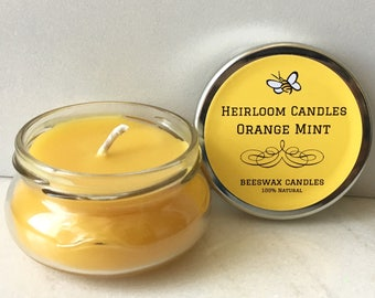 Orange Peppermint Beeswax Candle - Pure Beeswax Candle - Essential Oil Candle - Gift for Her - Mothers Day - Valentine's Day - Orange Mint