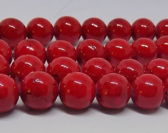 "Dark Red 10mm Round Glass Beads (16"" Strand)"
