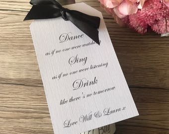 Wine bottle wedding favour tags, pack of 10, wine label, wedding stationery, wedding reception, table decorations, wedding favour tags