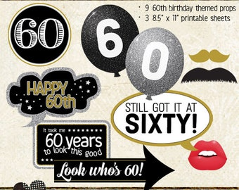 Photo Booth Props, HAPPY 60TH BIRTHDAY, add on set, printable sheets, instant download, black, gold, silver
