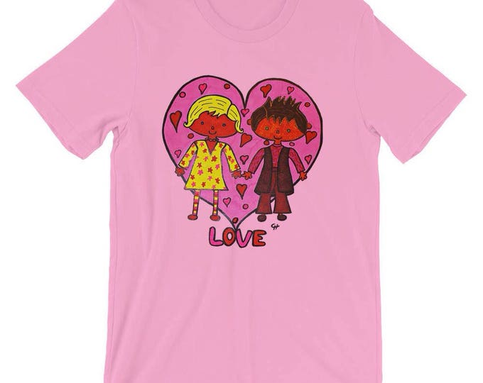 Pink Cotton Tee Shirt Pink Heart Cute Funny Radmadman Designs Short Sleeve Unisex Love T Shirt