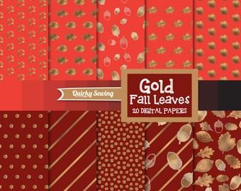 Gold Foil Autumn Digital Paper, Glitter Digital Paper, Fall Digital Paper, Gold Autumn Paper, Gold Thanksgiving Paper, Red Fall Paper Pack