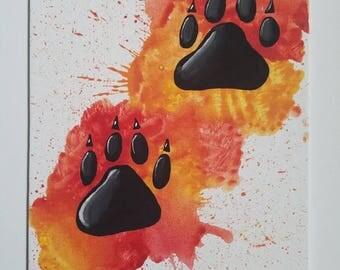 Paw prints! 8x10 flat canvas