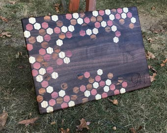 XL Exotic Honeycomb inlay Cutting board - Walnut with Purpleheart, Mango, & Ash