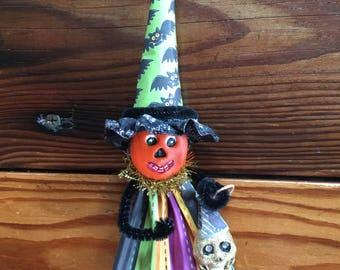 Halloween Pumpkin Clay Ornament. Halloween Decoration. Primitive Halloween. Vintage Halloween Decor. Pumpkin Decoration. Fantasy. Handmade.